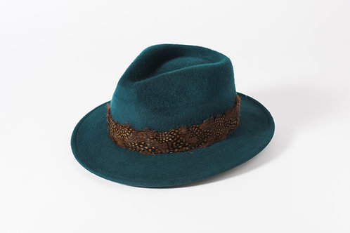 Brushed Wool Trilby with Feather Trim
