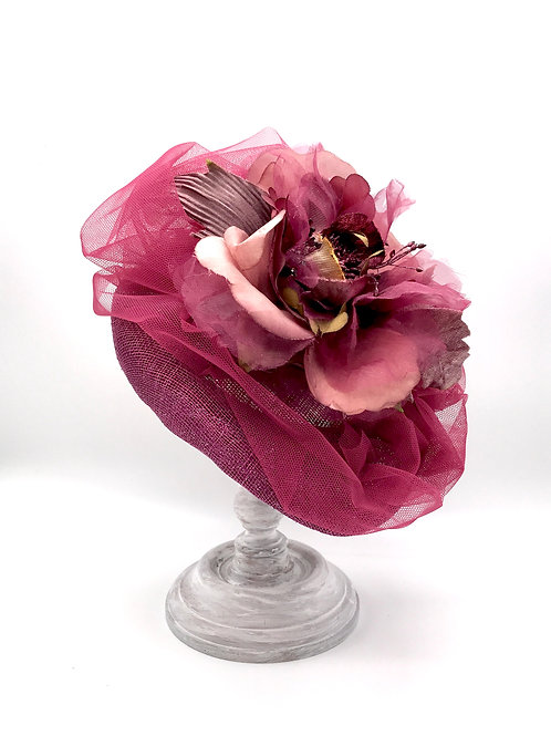 Plum perch with tulle & silk flower