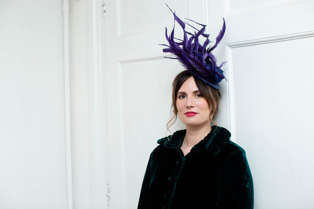 PURPLE FEATHERS & ROYAL BLUE SILK SCULPTRAL HEADPIECE