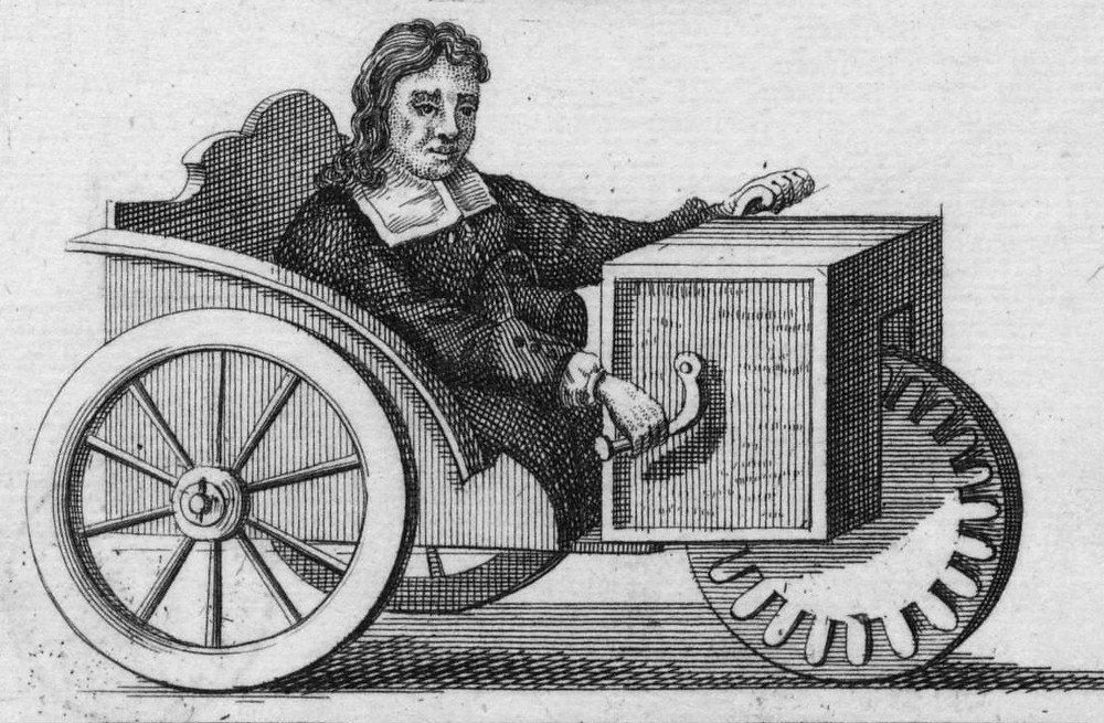 black and white drawing of man in wheelchair with handles at the front - similar to a bike