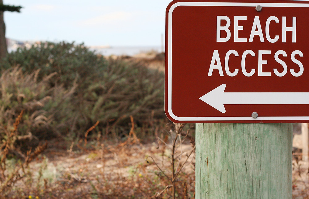 Beach Access sign red