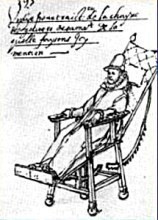 drawing of king Phillip 11 in a reclined chair