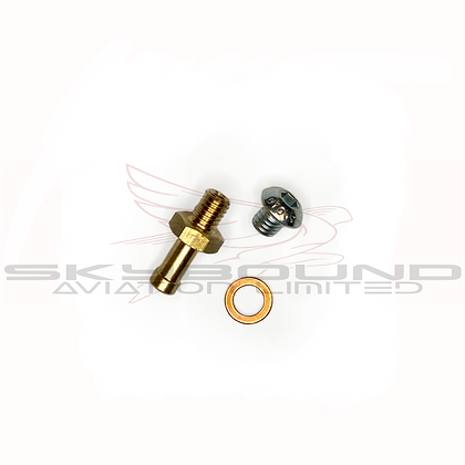 M024 - Brass junction, bolt 6 x 6 mm Tbei DIN 7380 and copper washer