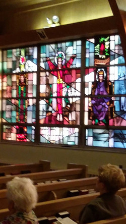 A stain glass window at the church