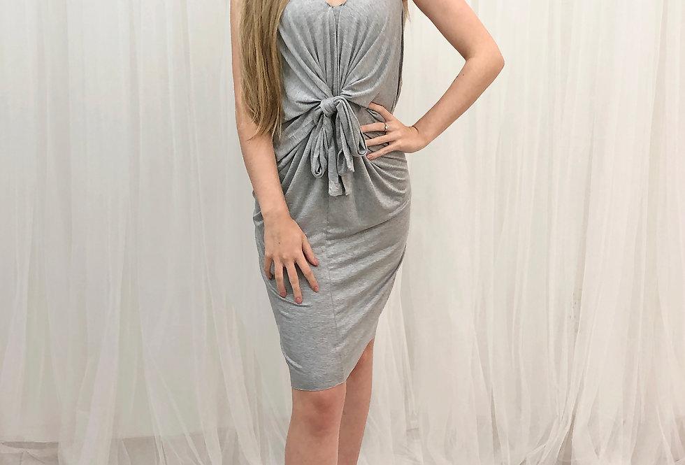 Draped Front-Tie Dress