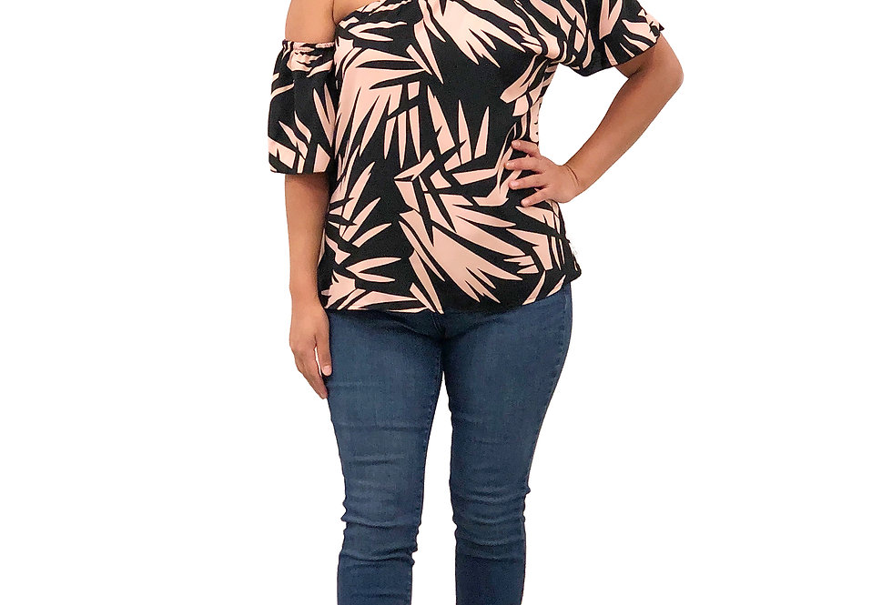 Abstract Single Shoulder Top