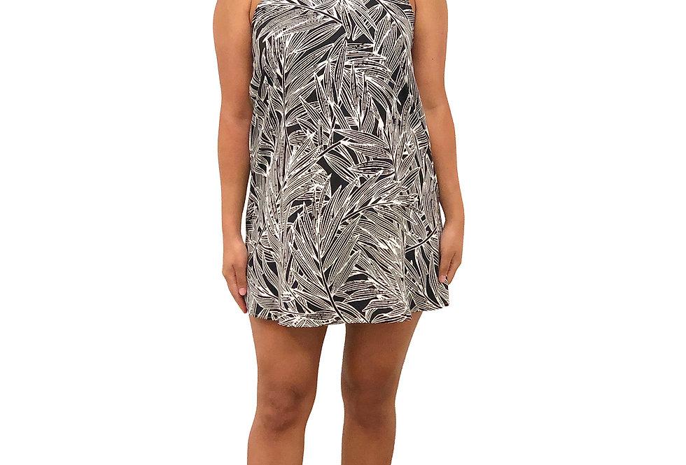 Black Palm Halter Dress