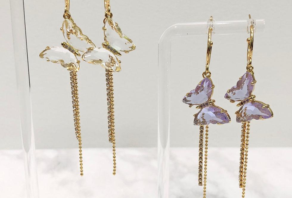 18K Crystal Butterfly Earrings