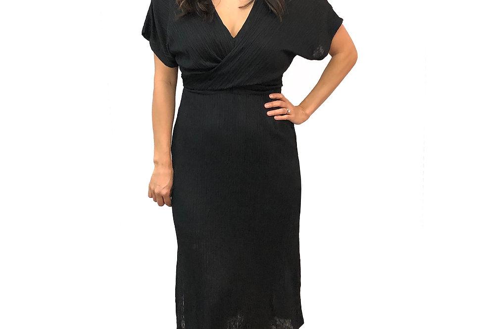 Plisse V-Neck Dress