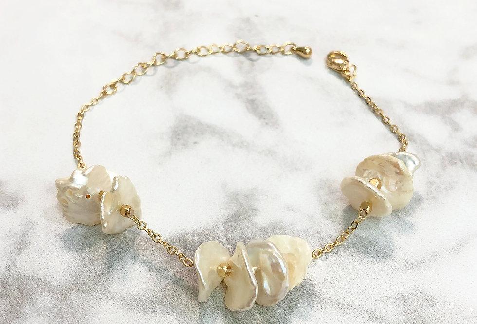 18K Hammered Pearl Bracelet