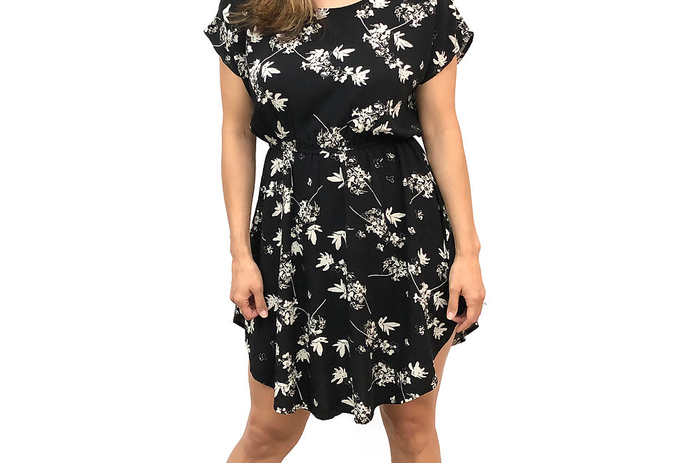 Floral Elastic Waist Dress