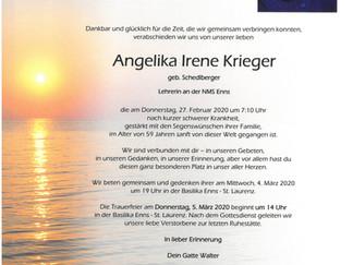 Traurige Nachricht vom Ableben Angelika Krieger