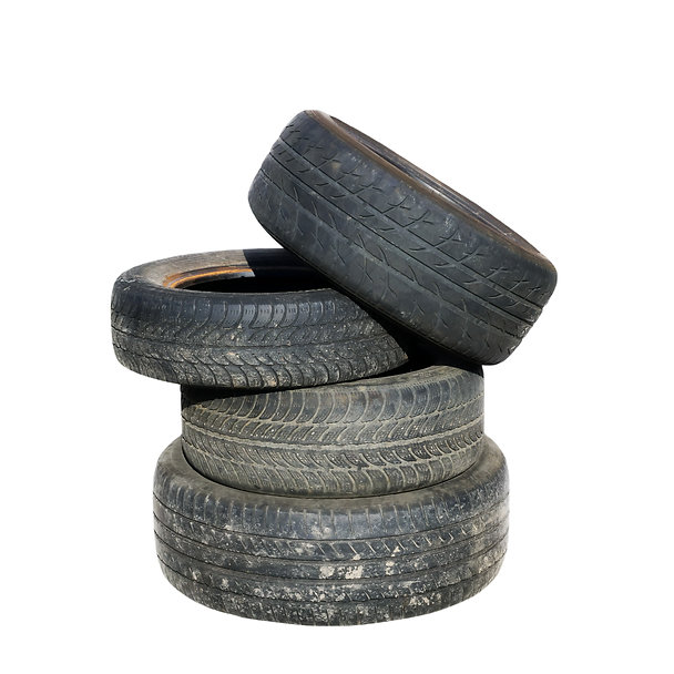 Old tires stacked, isolated on white bac