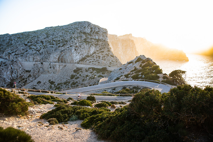 A lone cyclist on his way home from Cap de Formentor