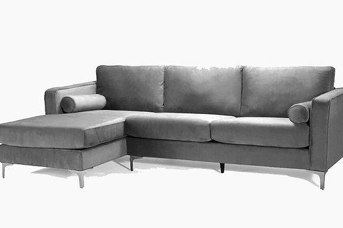 Velvet Sectional Grey
