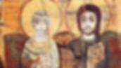 Icône du monastère de Baouit en Moyenne Égypte. Datée du VIIIe siècle. Le Christ (reconnaissable aisément à son nimbe portant une croix) et l'abbé Ména, le supérieur du monastère à cette époque.