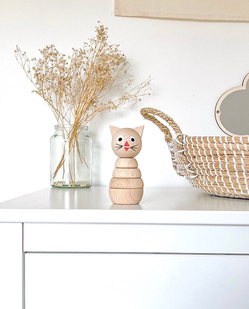 WOODEN STACKING CAT