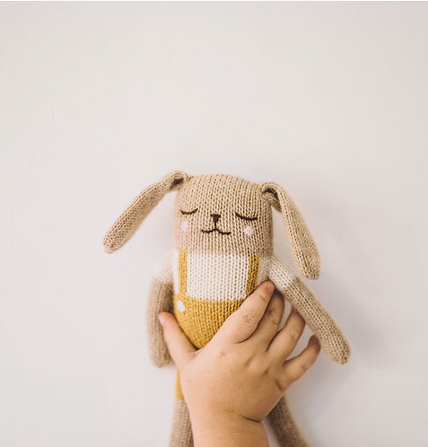 BUNNY KNIT TOY - MUSTARD OVERALLS - MAIN SAUVAGE