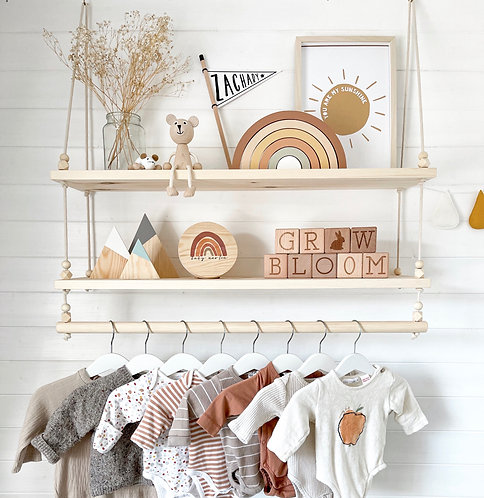 2 TIER SWING SHELF WITH CLOTHES RAIL