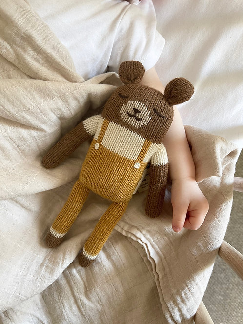 TEDDY KNIT TOY - MUSTARD OVERALLS - MAIN SAUVAGE