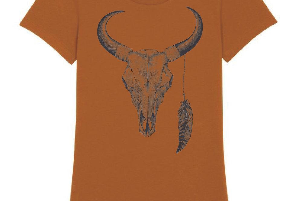 Buffalo Gus Skull Tee in Rust