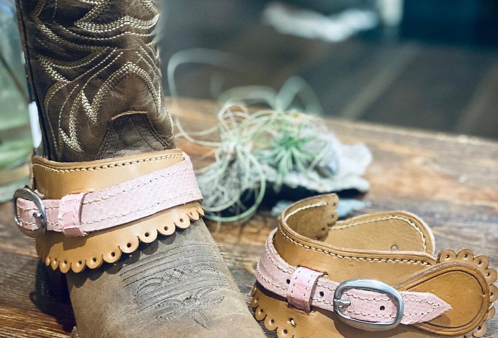 Leather & Pink Snake Skin Spur Straps
