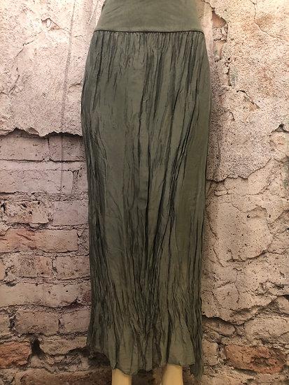 UNE Sage Italian Silk Skirt