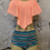 Thumbnail: Pastal Peach Swimsuit with High Bottoms NEW