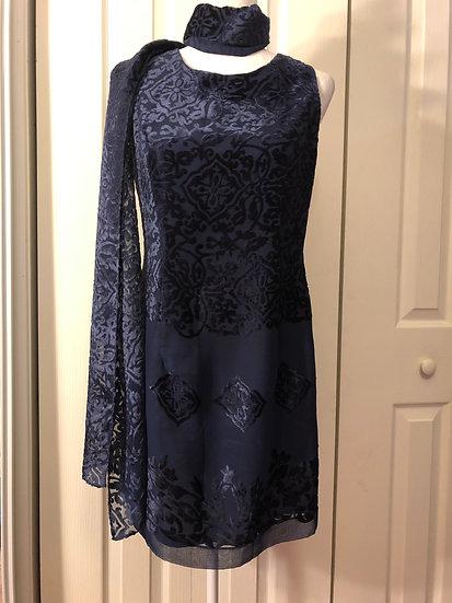 Jeremy Scott Navy Designer Dress/Scarf