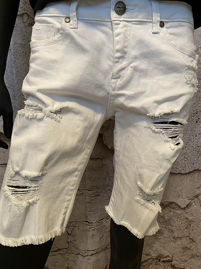 Sneak Peek White Bermuda Stretch Shorts USA