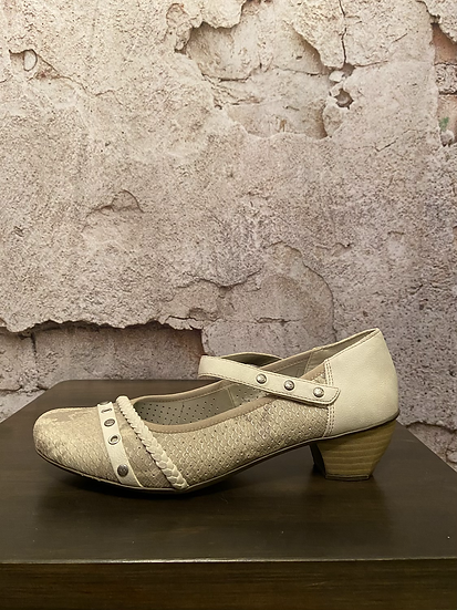 Rieker Taupe Shoes with Velcro Strap