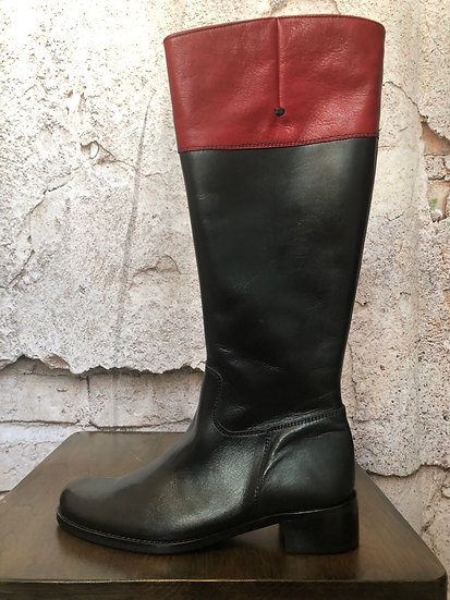 Pacio Valiente Black & Red Leather Boots NEW