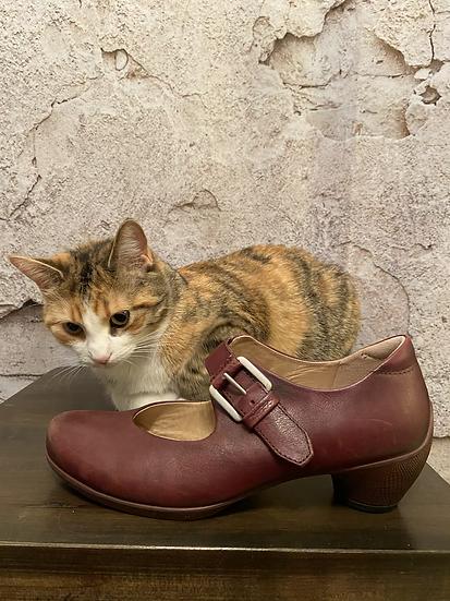 Ecco Maroon Mary Jane Shoes