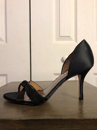 Badgley Mischka Black Satin Heels