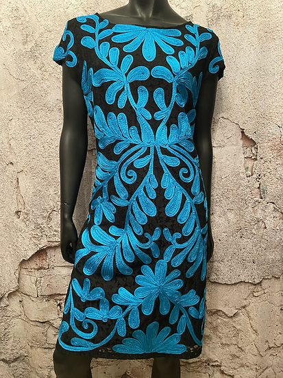 Bailey Black Lace & Teal Dress