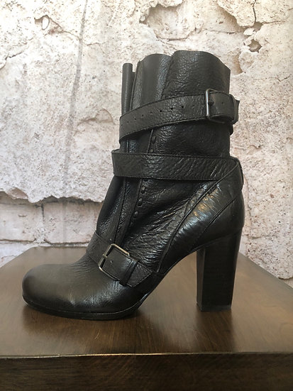 Rosegold Black Leather Boots NEW