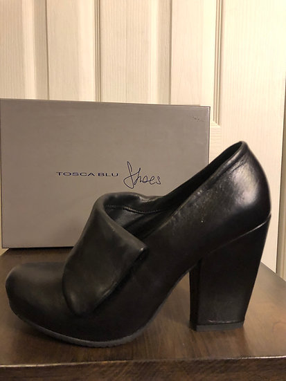 Tosca Blu Black Leather Shoe NEW