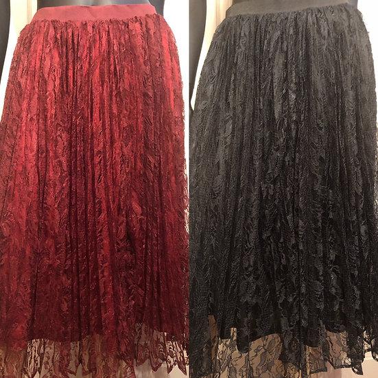 Pink Martini Burgundy/Black Lace Skirts NEW