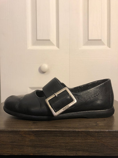ECCO Black Leather MaryJanes