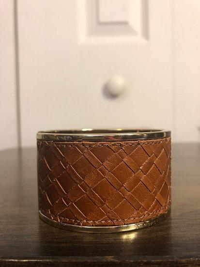 Leather & Gold Bangle Bracelet