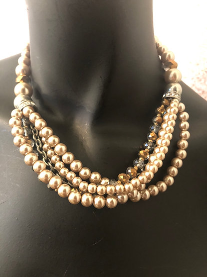 Taupe Pearls & Crystals
