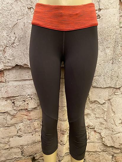 Lululemon Orange Waistband 3/4 Tights~ Rouched sides
