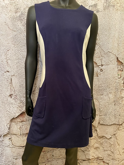 Navy & White Dress with Pockets