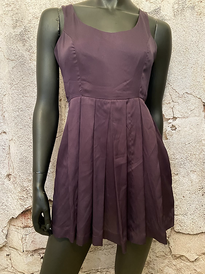 Aubergine Pleated Dress with Pockets