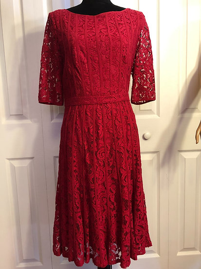 Adrianna Papell Red Lace Dress