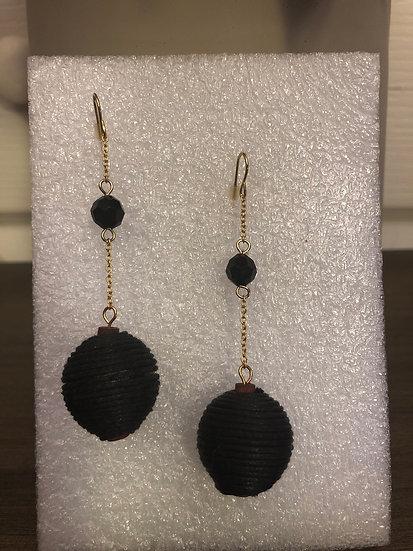 Gold & Black, Ball Earrings
