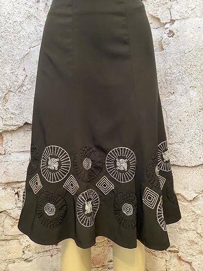 Point Zero Black Embroidery Skirt