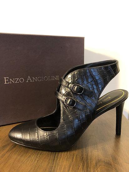 Enzo Angiolini Black Croc Print Heel NEW