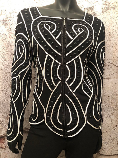 Black & White Beaded Zip Up Jacket