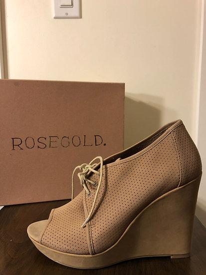 Rosegold Beige Wedge Open Toe Shoe NEW